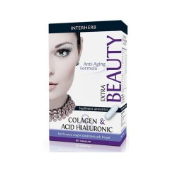Colagen si acid hialuronic Extra Beauty, 30 capsule, Interherb